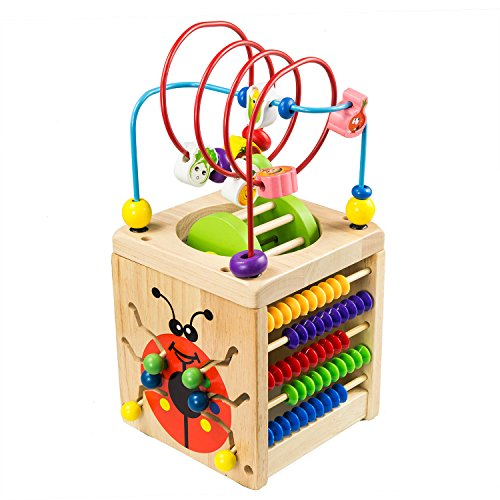 Battop 6 In 1 Wooden Activity Cube Bead Maze Multi Purpose