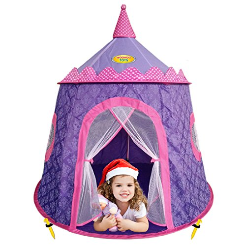 Children Purple Princess Castle Play Tent With Elegant
