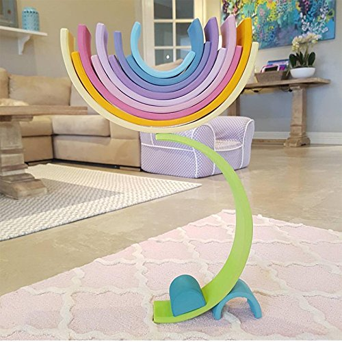 Extra Large 12 Piece Rainbow Tunnel Stacker Toy In Pastel
