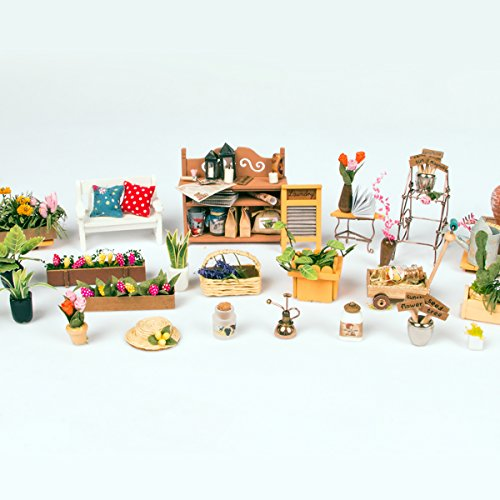 Robotime Diy Miniature Dollhouse Kit Garden House With