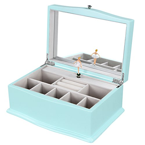 Songmics girls music jewelry box turquoise wooden case for Girls large jewelry box